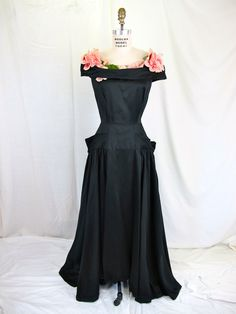 1930's Black and Rose Evening Dress Couture Ballgown.