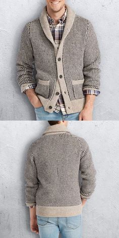 Latest styles in men's clothing featuring on-trend men's fashion and clothing, a summer inspired range. Smart Casual Wear, Casual Suit, Style Casual, Comfy Casual, Men Casual, Jacket Men, Knit Jacket, Sweater Jacket, Men Sweater