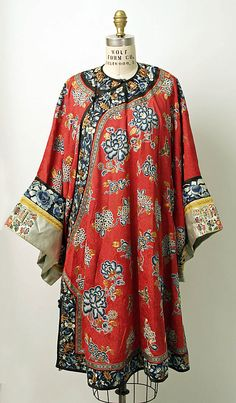 19th century Chinese Women's Robe //  Medium: silk, metal // Dimensions: Length: 42 in. (106.7 cm) // Credit Line: Bequest of Ruth Shaefer Emery (Nancy E. Bakst, Executor), 1982 // Accession Number: 1982.255.2