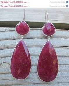 30 OFF SALE Dangle Ruby Earrings Sterling Silver Ruby by Belesas