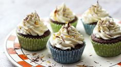 BBC Food - Recipes - The Great British Bake Off (Season -Chocolate orange cupcakes Cupcake Recipes, Baking Recipes, Cupcake Cakes, Dessert Recipes, Desserts, Bbc Recipes, Chocolate Orange, Chocolate Icing, Chocolate Cupcakes