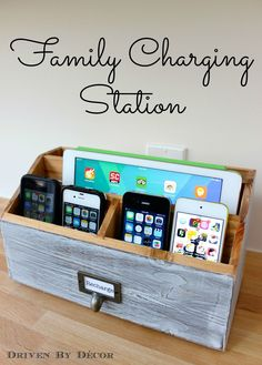 Create a charging station to organize and charge your electronics with this simple DIY! Also shows how to turn a standard outlet into a 4-port USB outlet!