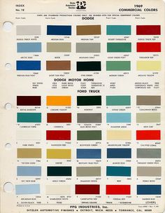 1968 Ford Color Chart Color Chart for 1959 1968 Ford Mercury