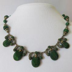 Vintage 1930's Czech Glass Art Deco Neiger Bros. Necklace.