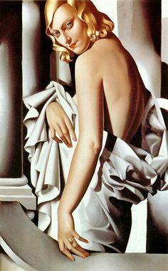 Tamara de Lempicka (Polish): Mona Lizard [portrait]. Oil on canvas. Art-Deco style.