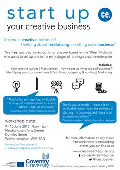 bac58f37d Our next 'Start Up Your Creative Business' workshop is being held at  Newhampton Arts