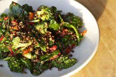 supernatural salad – black lentils with roasted broccoli on https://amandaskrip.com