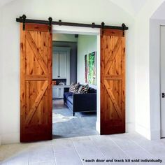 Single Track Bypass Barn Door Hardware Kit For 2 Doors On