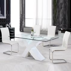 aristo white gloss and glass dining table20337