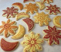 Henna Inspired Sun & Moon cookies via Etsy.
