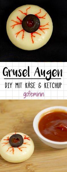 DIY Käse Augen aus Babybel, Oliven und Ketchup