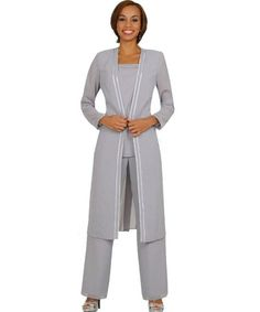 3 piece silver plus size mother of bride pant suit Nitabelle