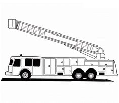 Fire Safety: FREE F is for fire truck coloring page