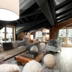 The Petit Chateau, a Luxury Ski Chalet in Courchevel.  Nice interior... ;-)