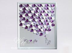 Hochzeit Gast Buch Alternative auf silbernem Hintergrund. Personalisiert mit Ihrem Namen und Datum Hochzeit, bietet eine einzigartige Weise des Ausdrückens Ihrer Liebe an Ihrem besonderen Tag. Weiß, Lavendel und lila Hochzeit Baum. Silber, lila, weiß und Lavendel Herz.  ------------- TO ORDER -------------- Bitte 1. Wählen Sie aus der Dropdown-Liste eine Größe und Anzahl der Herzen. 2 Farben von Herzen aus der Dropdown-Liste auswählen. (3) in der Notiz an Verkäufer Box Bitte beachten Sie…