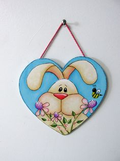 Folk Art Tan Bunny Flowers Yellow Bumble Bee by barbsheartstrokes