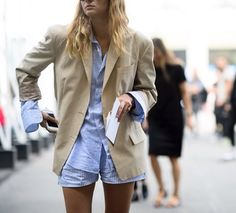 Striped set and beige jacket.