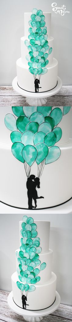 Teal hand-painted balloons on this stunning three tier wedding cake | Made by Sweet by Nature, Melbourne VIC