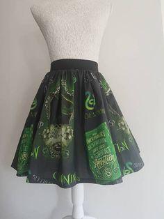 ac7eaac71db66 Adult Harry Potter Inspired Slytherin Full Skater Skirt