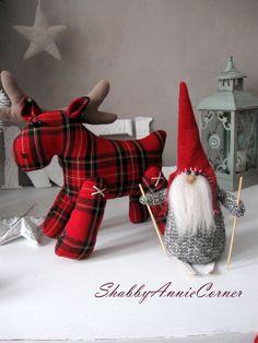 Scandinavian Gnomes Red Deer toy Norwegian by ShabbyAnnieCorner