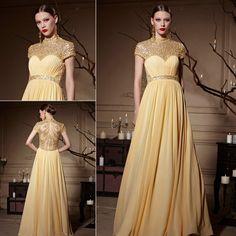 Yellow Tone Jewel Neckline Sheer Back Zipper #Chiffon #Long #Prom #Dress XHC30620 - DressesMallAU.co