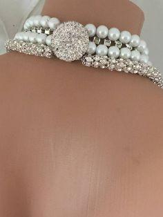 Lungo strato multifilare collana di perle Avorio con strass