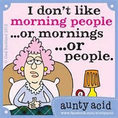 aunty acid's philosophy about mornings...