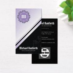 Simple Elegant Damask Motif I - Black Violet White Business Card  $35.25  by mydeas_business  - custom gift idea
