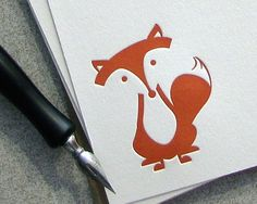 Fox Note Card Set Letterpress Autumn Fall Sitting Fox Red Rust Orange 10 pack (NLF01) by Sweet Harvey