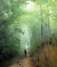 Landscape at Fontainebleau Forest - Abbott Handerson Thayer Reproduction Oil Painting Watercolor Landscape, Landscape Art, Landscape Paintings, Watercolor Art, Kunst Online, Paintings I Love, Artwork Paintings, American Artists, Love Art
