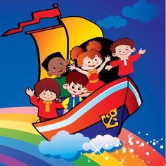 Colorful Cartoon Kids at Sea Background - http://www.dawnbrushes.com/colorful-cartoon-kids-at-sea-background/