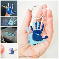 ▷ 1001 + ideas on how to make gifts yourself - DIY - Basteln mit Kindern - cool birthday gifts to make yourself, handicrafts with children, hands, blue color, key chain - Kids Crafts, Mothers Day Crafts For Kids, Fathers Day Crafts, Baby Crafts, Diy For Kids, Arts And Crafts, Summer Crafts, Easter Crafts, Mothers Day Gifts Toddlers