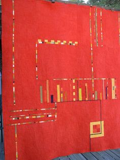 Architectural Quilt in Red