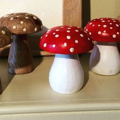 Wooden #toadstools at OxenhamArt. 1.99 each. FREE DELIVERY/POSTAGE. #wood #bargain