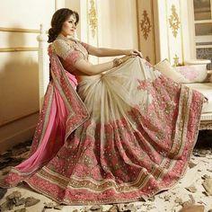 LadyIndia.com # Wedding Sarees, Designer Silk Resham Work Pink & Cream Half & Half Saree Design Bridal Sarees, Bridal Sarees, Wedding Sarees, Designer Sarees, New Fashion Trend Sarees, https://ladyindia.com/collections/ethnic-wear/products/designer-silk-resham-work-pink-cream-half-half-saree-design-bridal-sarees