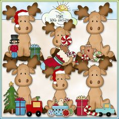 Sittin Moose Christmas Wishes 1 - NE Cheryl Seslar Clip Art : Digi Web Studio, Clip Art, Printable Crafts & Digital Scrapbooking!