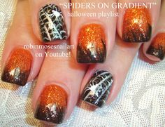 Halloween Nails! Orange and Black Ombre Tutorial with Spiderweb Nail art...