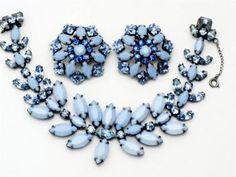 Vintage Signed SCHREINER NY Rhinestone Lucite Bracelet & Earrings SET