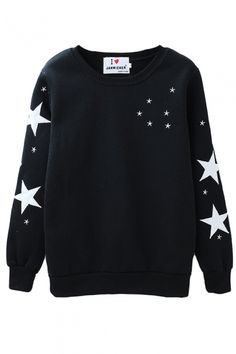 Black Star Print Round Neck Sweatshirt with Velvet Inside - Beautifulhalo.com