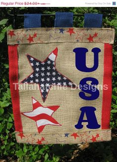 Patriotic Burlap Garden Flag Personalized by TallahatchieDesigns, $19.20