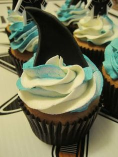 San Jose Shark Cupcakes Tutorial