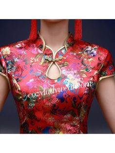 Short Floral Mandarin Collar Qipao / Cheongsam Dress Iranian Women Fashion, Ethnic Fashion, African Fashion, Churidar Neck Designs, Kurta Neck Design, Neckline Designs, Blouse Neck Designs, Cheongsam Dress, Dress Making Patterns