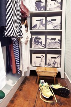 DIY on a Budget: 10 Mod Podge Projects. Wouldn't these make a great addition to a kids room or playroom. You could tell a whole story with just their storage bins. Kallax, Ikea Bins, Organizar Closet, Ikea Regal, Small Closet Organization, Organization Hacks, Ideas Para Organizar, Best Ikea, Attic Renovation