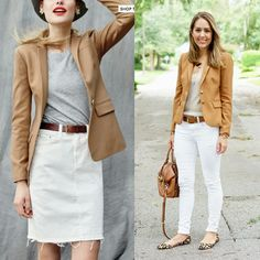 Today's Everyday Fashion: The Camel Blazer — J's Everyday Fashion Tan Blazer Outfits, Camel Blazer, White Jeans Outfit, Chic Outfits, Fashion Outfits, Work Outfits, Fall Outfits, Camel Coat, Inspired Outfits