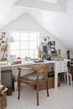 Mismatched antique wooden chair for desk area