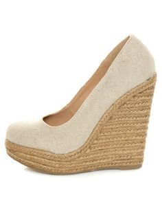 My Delicious Glow Natural Linen Espadrille Wedges