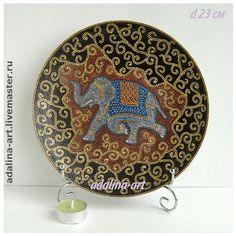 ИНДИЙСКИЙ СЛОН декоративная тарелка - слон,индийский слон,индия,декоративная тарелка