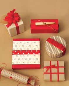 Download our monogram wrapping paper  in crimson and camel