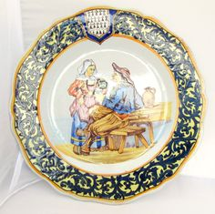 French tavern scene on a Quimper plate. Photo courtesy of countryfrenchpottery.com (join our mailing list)