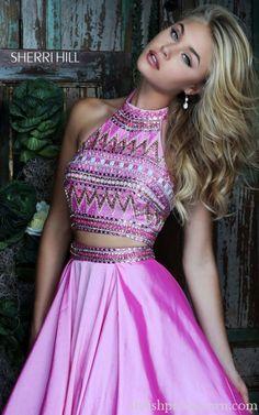 Halter Sherri Hill 50310 Beads Two Piece Prom Dress Hot Pink